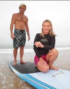 Auhtor of THE WAVE, Susan Casey, with her guide to Jaws (Maui), Laird Hamilton.