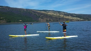 Judy and Ed loving life on a down-current glassy Columbia Gorge paddle