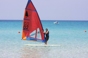 Mike Waltze racing one of the original windsurf models in a recent competition.