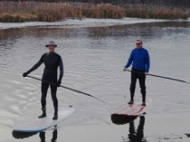 WE bundle up for cold paddles in the winter!