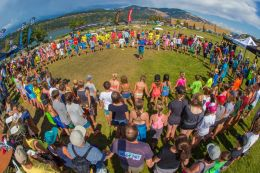 Traditional prayer circle lead by gerry Lopez before the Positively Kai Grom clinic - huge turn out
