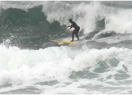 Fun wave, new Naish Hokua, cold water, Pacific City, Oregon stoke. First wave in my 66th year.